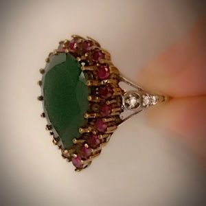 9.5 EMERALD FINE RUBY RING Solid 925 Silver/Gold